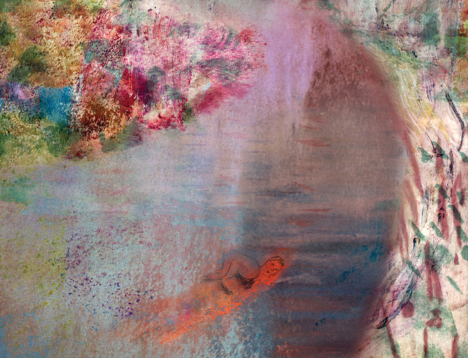 Abstract painting of woman swimming by Vivienne Flesher