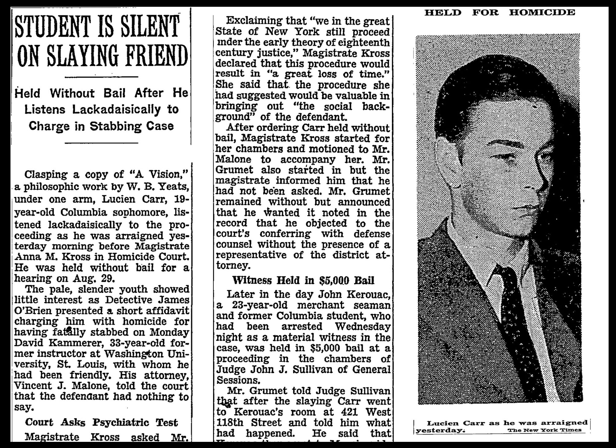 Newspaper clipping of Lucien Carr news
