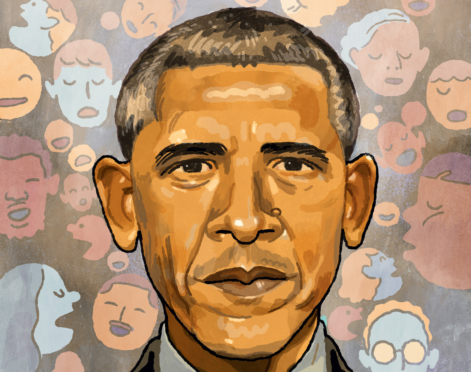 Illustrated portrait of Barack Obama by Richie Pope