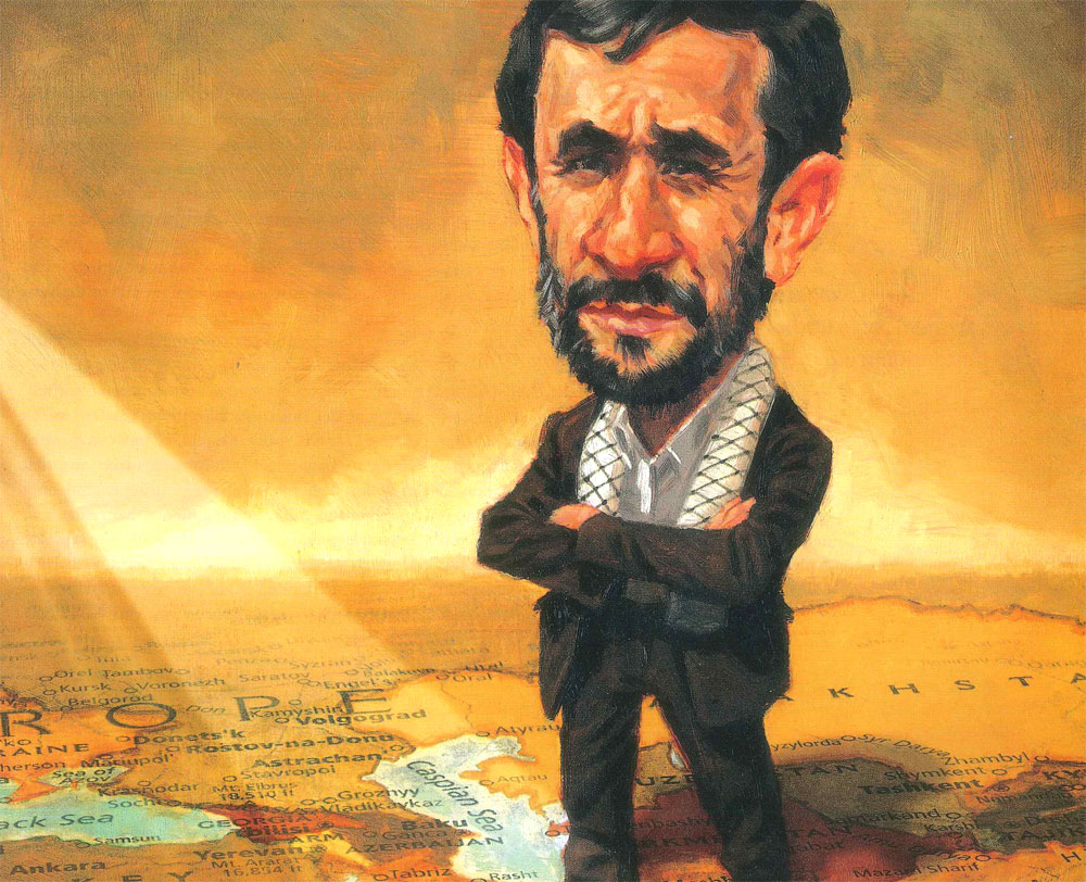 Illustration by Darren Gygi of Mahmoud Ahmadinejad standing on a map of the Middle East