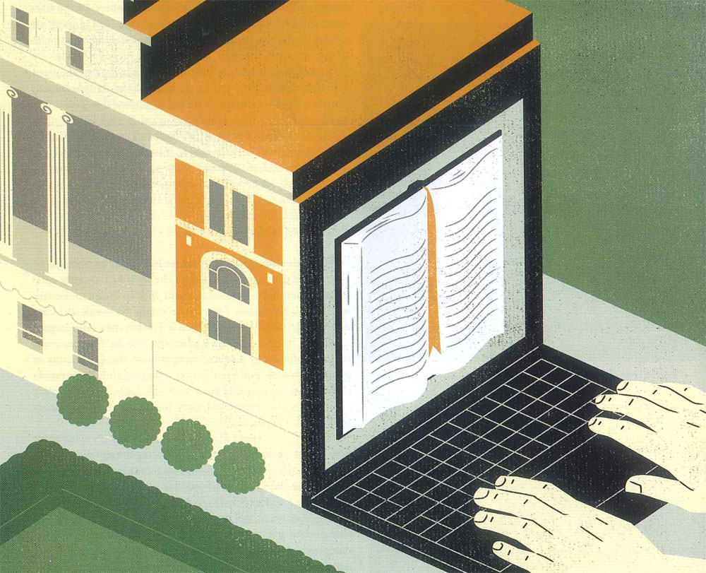 Illustration by Keith Negley of Columbia's Butler Library attached to the back of a laptop