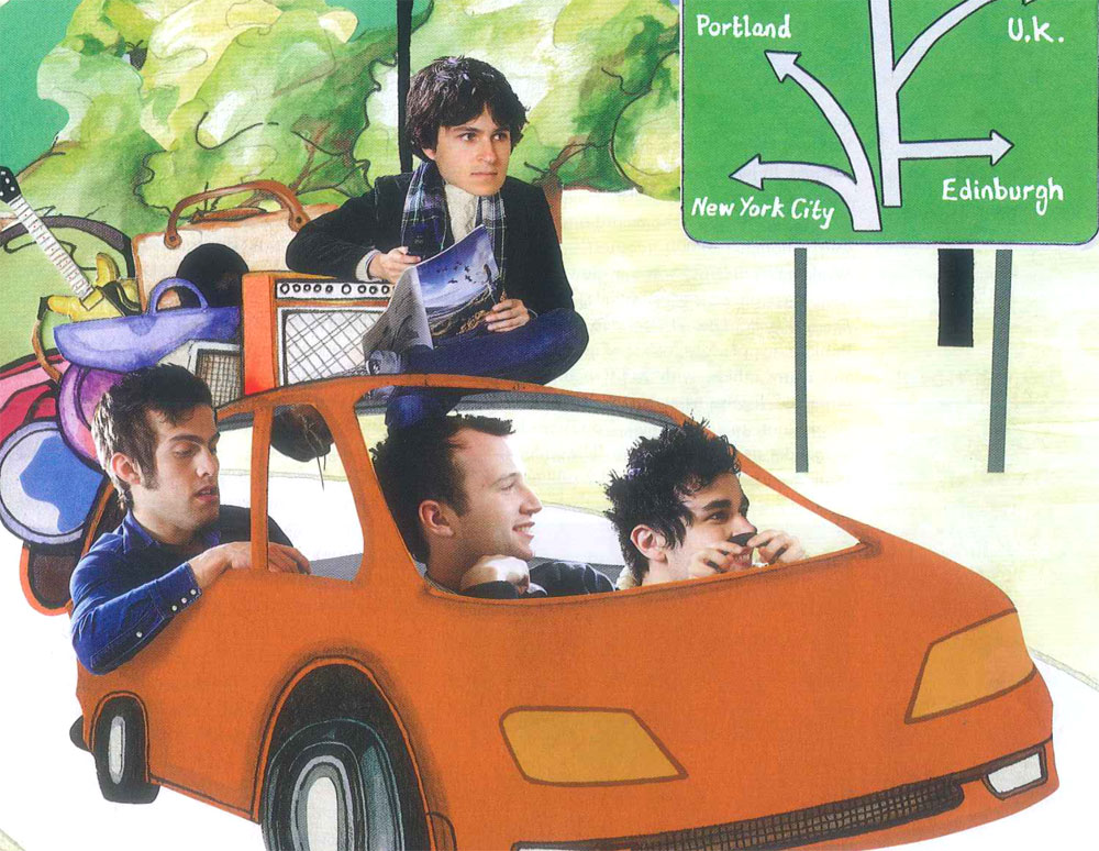 Collage illustration of Vampire Weekend band in car