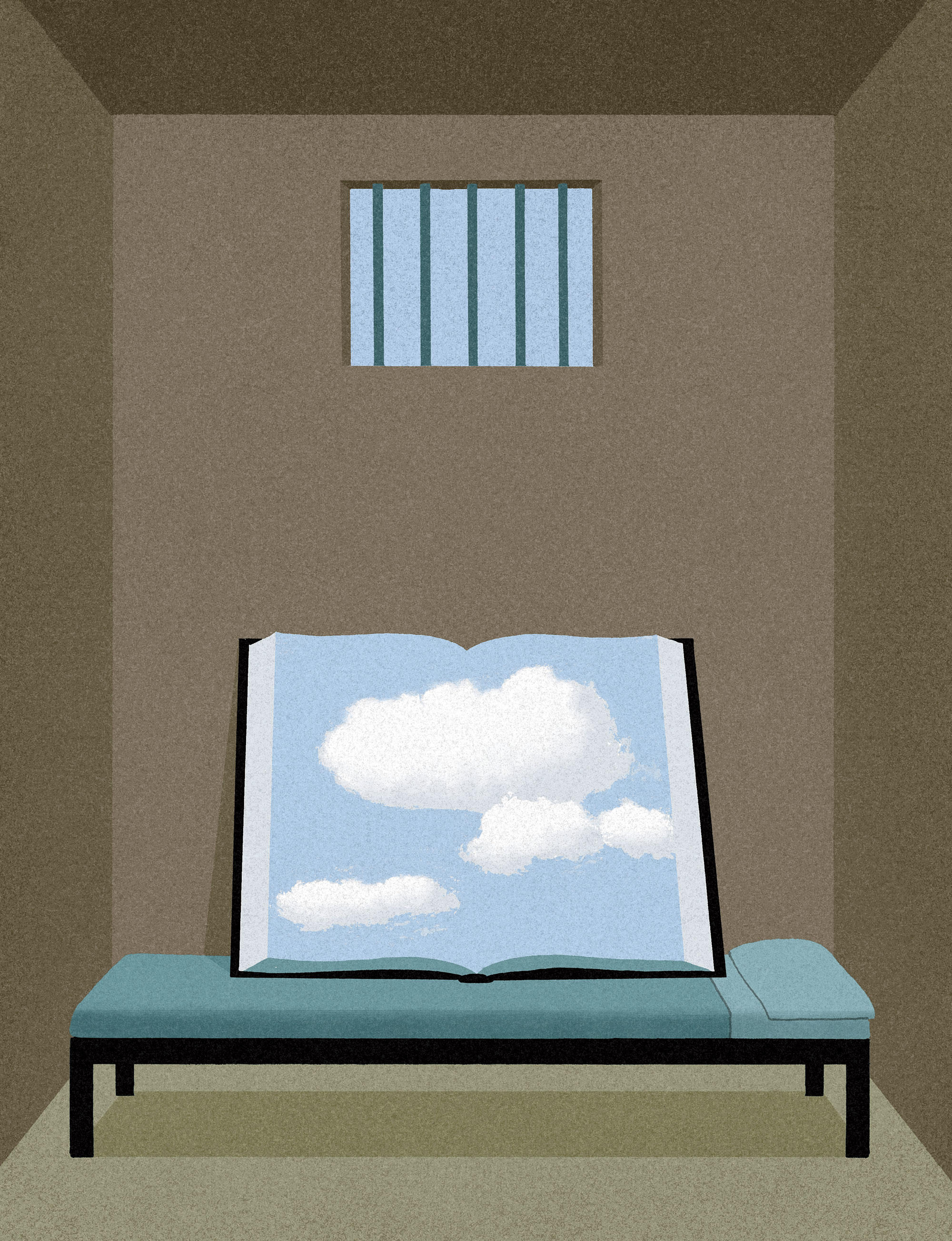 Illustration of book in prison cell