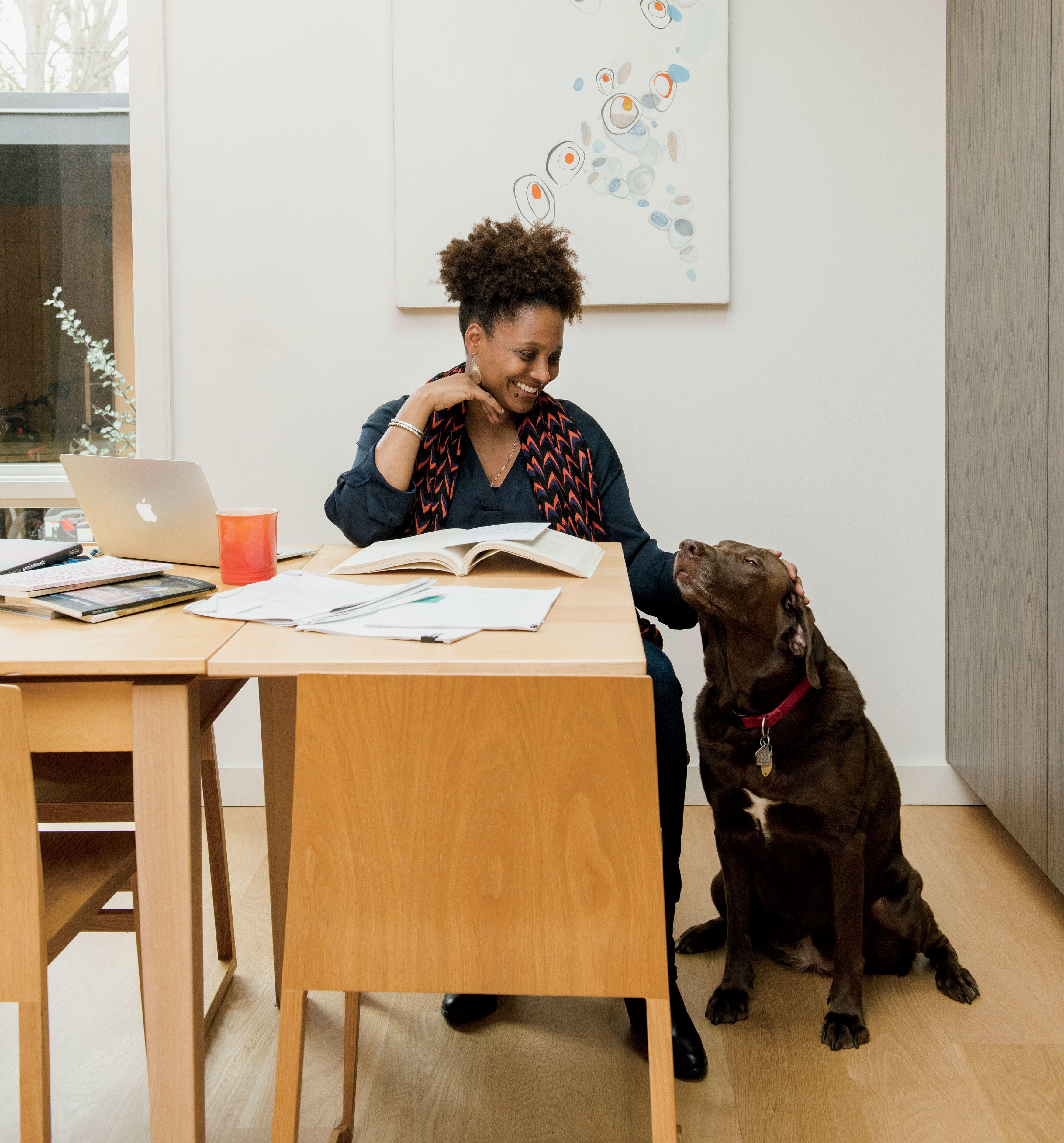 Tracy K. Smith with dog