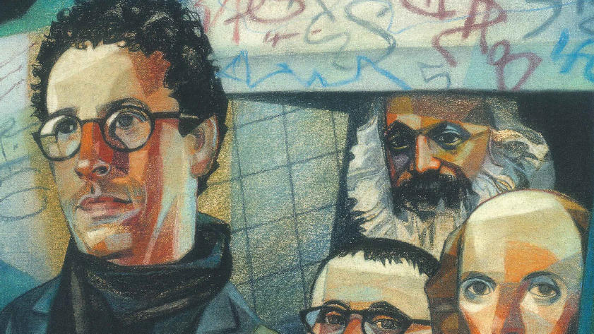 Illustration of Tony Kushner and famous writers