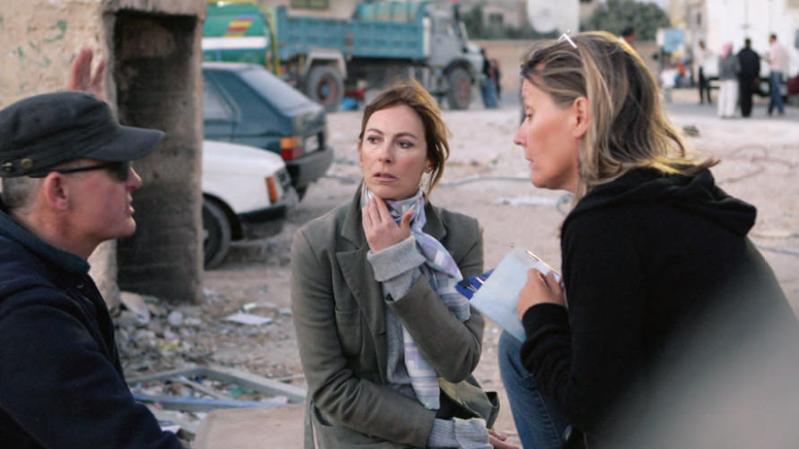Kathryn Bigelow with cinematographer Barry Ackroyd and script supervisor Aslaug Konradsdottir in the Madaba Refugee Camp near Amman, Jordan