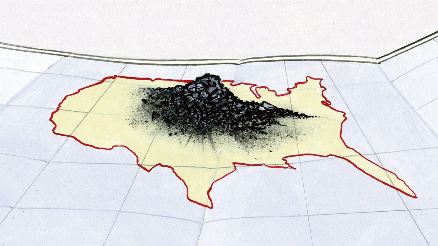 Illustration by Arthur E. Giron of a map of America with a pile of coal on top of it