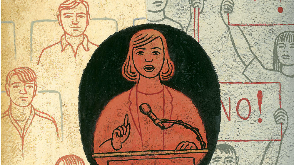 Illustration by James Steinberg for Columbia Magazine's winter 2006-07 issue, of a controversial speaker on campus with protesters in background