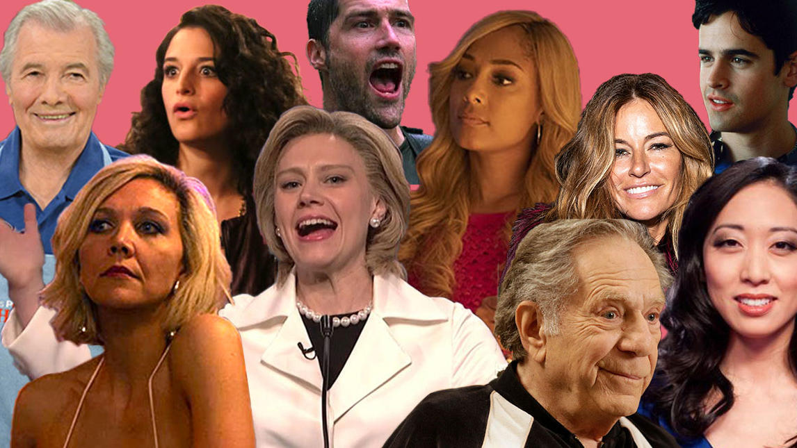 Collage of celebrities who graduated from Columbia: Jacques Pépin, Maggie Gyllenhaal, Jenny Slate, Kate McKinnon, Matthew Fox, Amanda Seales, George Segal, Kelly Killoren Bensimon, Jesse Bradford, Judy Joo