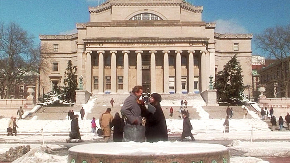 Jeff Bridges and Barbara Streisand on Columbia University campus in The Mirror Has Two Faces
