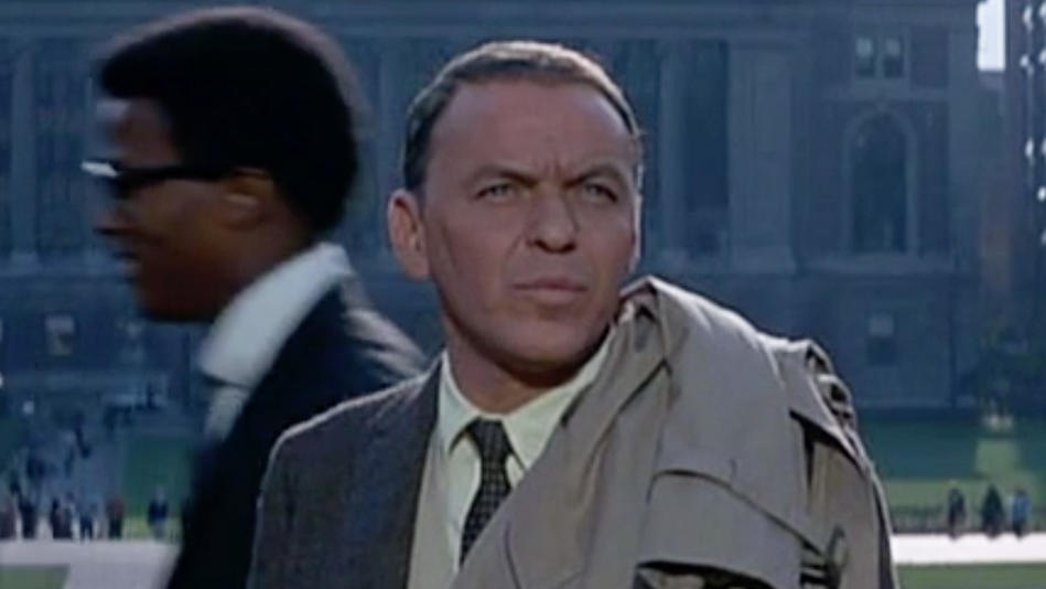 Frank Sinatra in The Detective in a scene filmed on Columbia University campus