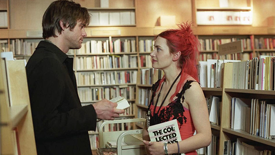 Jim Carrey and Kate Winslet in the bookstore scene of Eternal Sunshine of the Spotless Mind