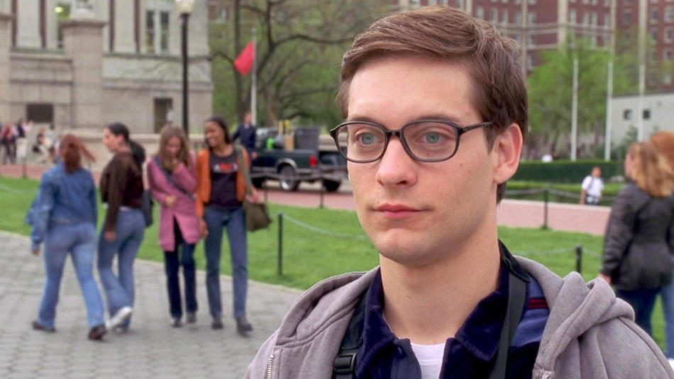 Tobey Maguire as Peter Parker on Columbia University campus in Spider-man