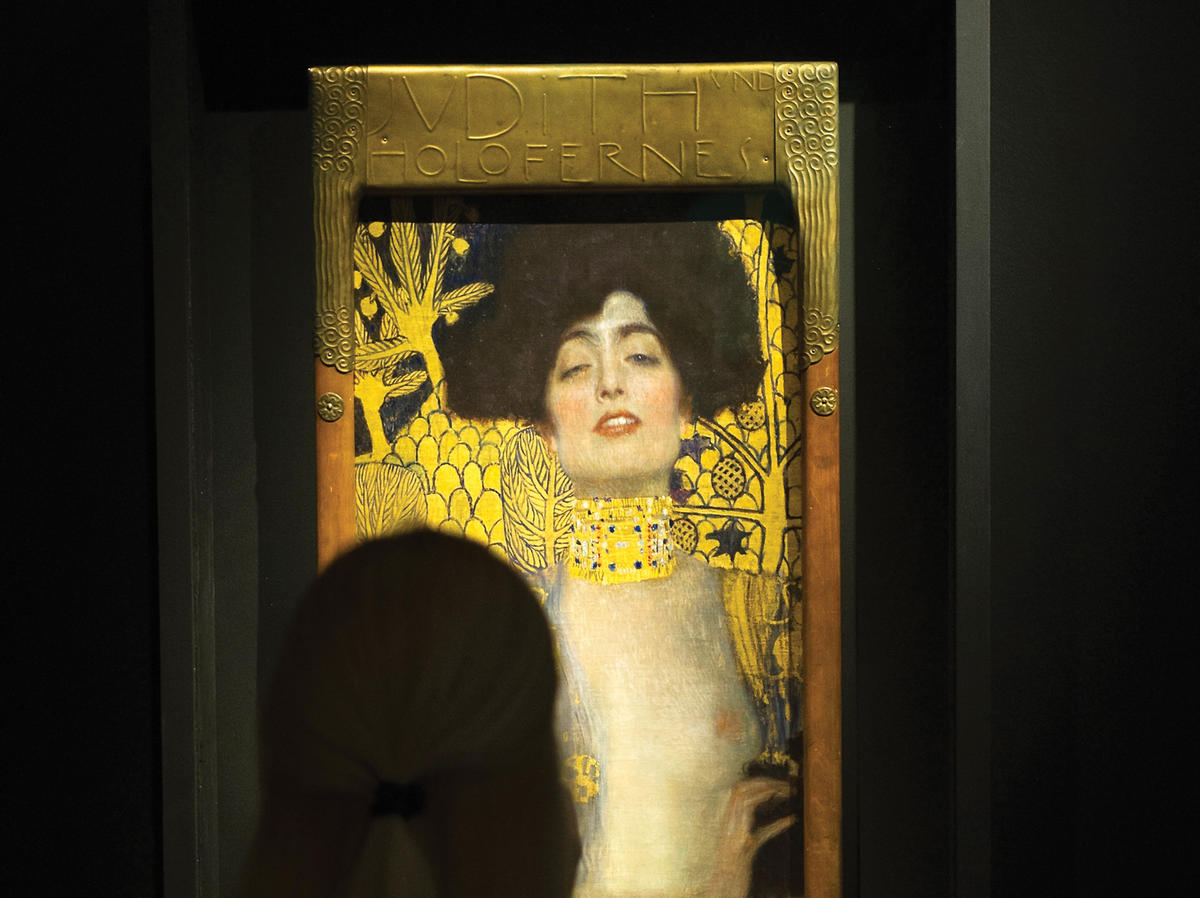 "A person looking at ""Judith I"" by Gustav Klimt"
