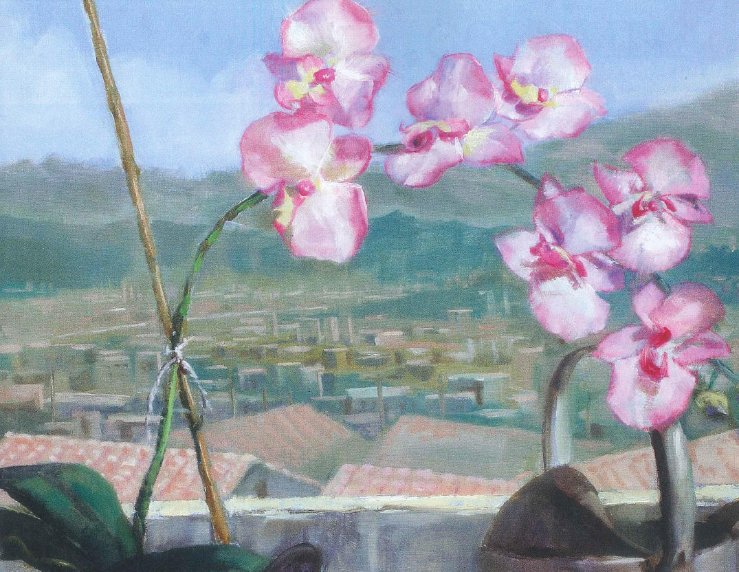Painting of orchids in watering can on windowsill