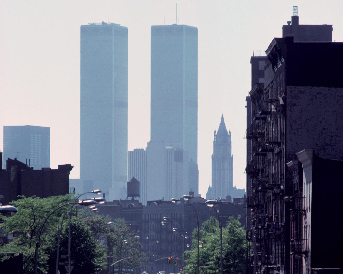 View of the Twin Towers from Brooklyn in 1977
