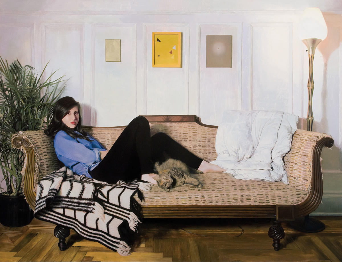 """Portrait of Talia with Lilly on the Couch,"" by Van Hanos (oil on linen)"