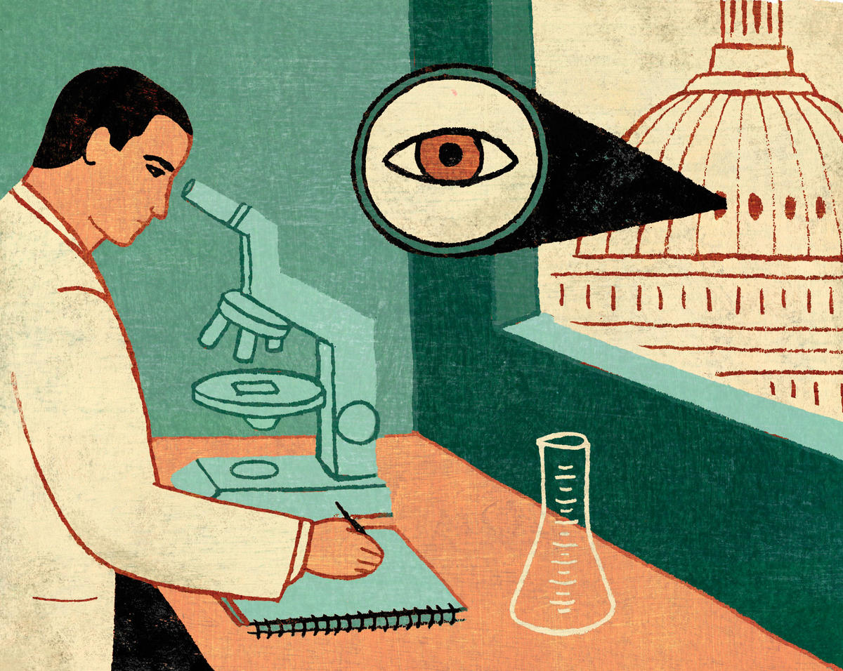 Illustration of a scientist looking through a microscope as the White House spies on him with a giant eye