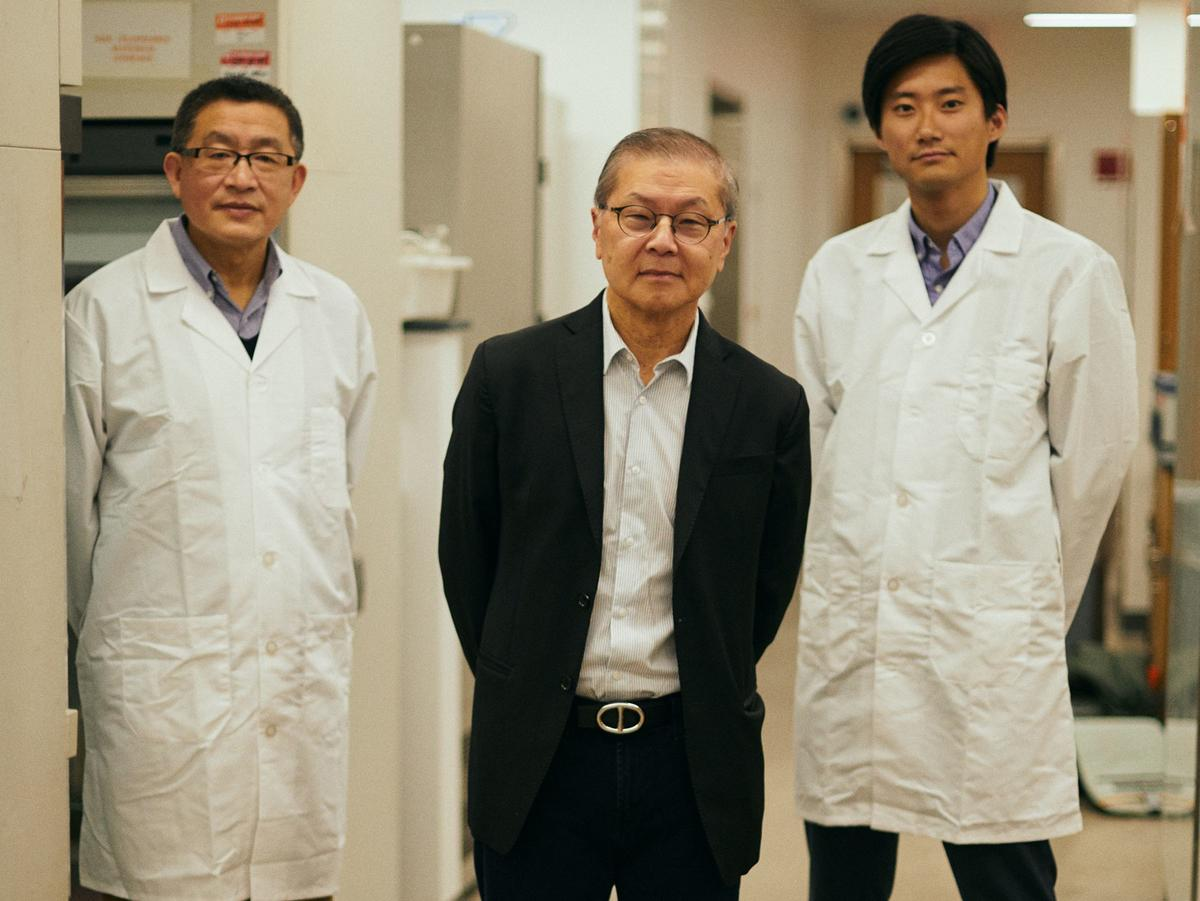 David D. Ho, center, with fellow ADARC scientists Yaoxing Huang and Sho Iketani (Samantha Casolari / Bloomberg Businessweek).