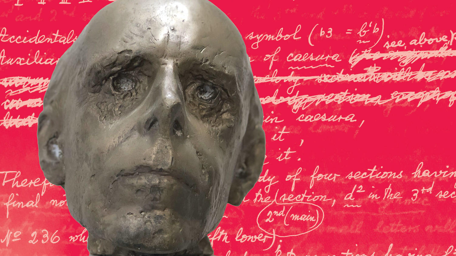 Bronze bust of Béla Bartok over sheet music