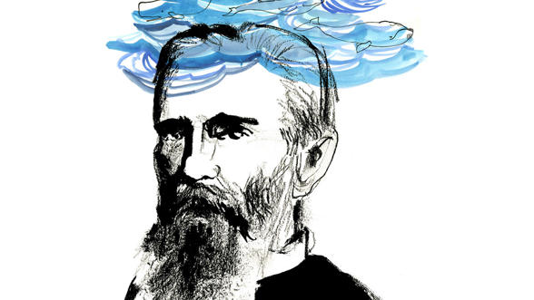 Illustration of Herman Melville by Audrey Hawkins