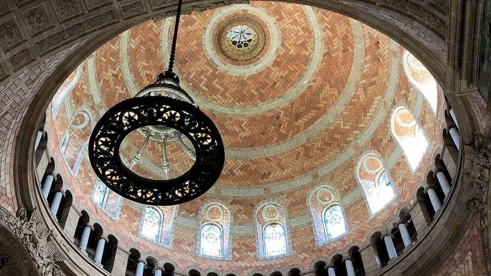 Inside of the dome of St. Paul's Chapel at Columbia University, after restoration