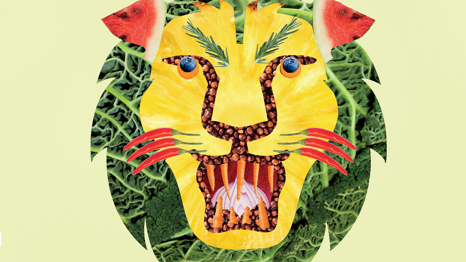 Illustration of Columbia lion mascot made out of fruits and vegetables