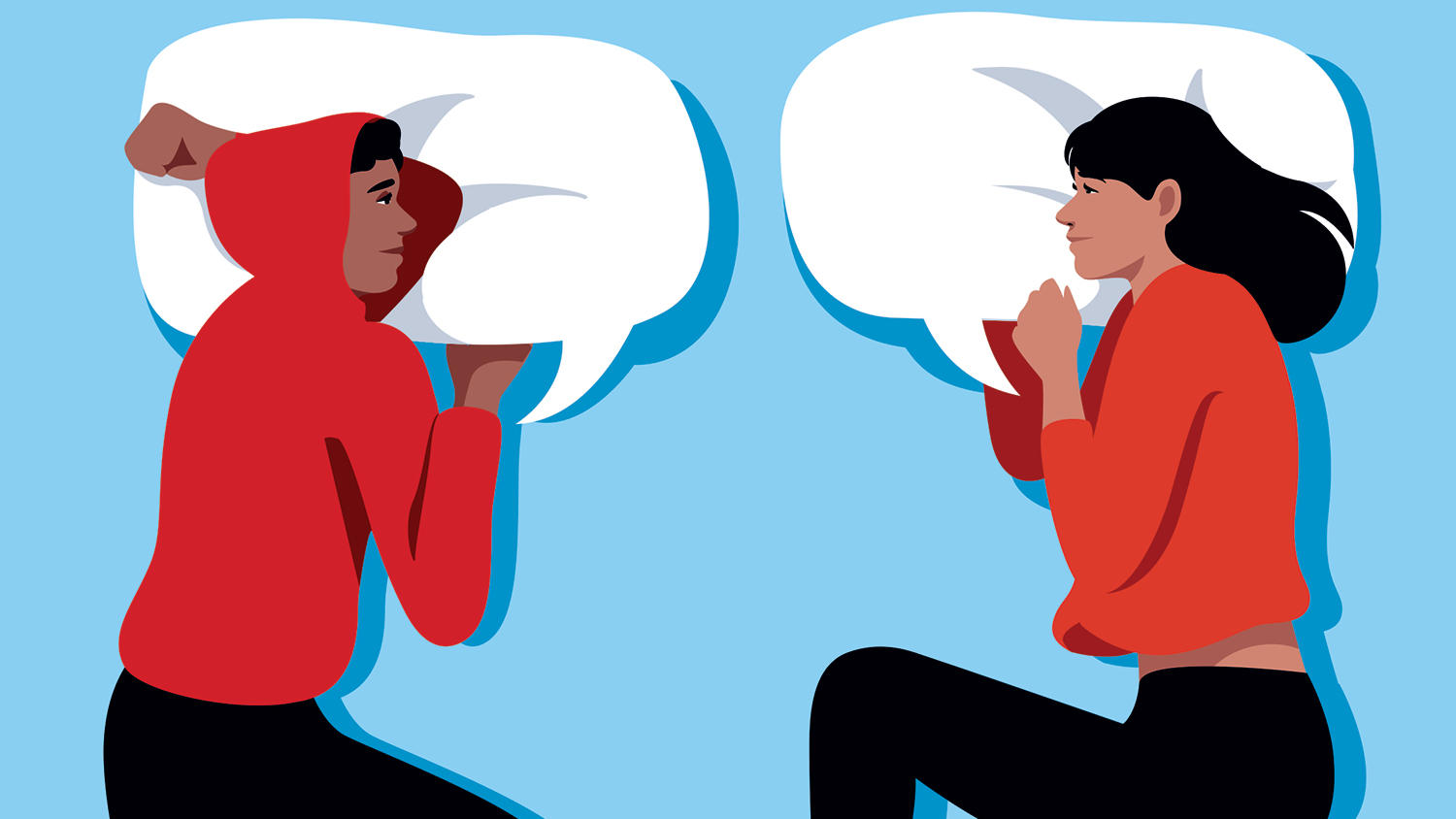 Illustration for Columbia Magazine by Anna Parini of two young people talking to each other in bed