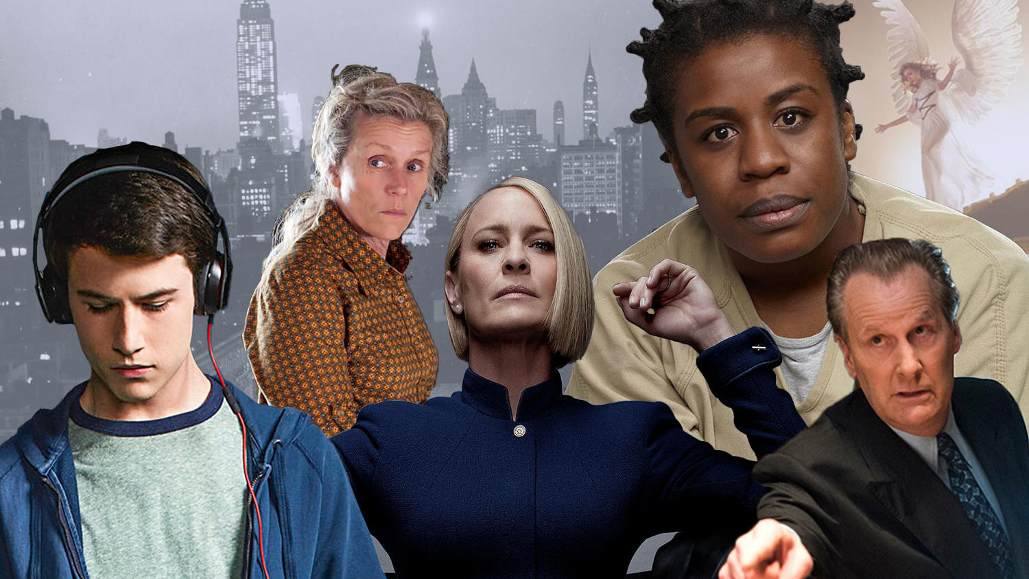 Photo collage for Columbia Magazine with characters from 13 Reasons Why, Olive Kitteridge, Orange is the New Black, House of Cards, Angels in America, and the Looming Tower