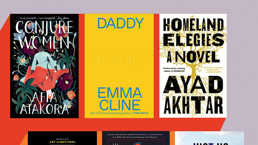 Covers of Conjure Women by Afia Atakora, Hello Darkness, My Old Friend by Sanford D. Greenberg, Trouble the Saints by Alaya Dawn Johnson, Homeland Elegies by Ayad Akhtar, Daddy by Emma Cline, Just Us by Claudia Rankine, in Columbia Magazine fall 2020 issue