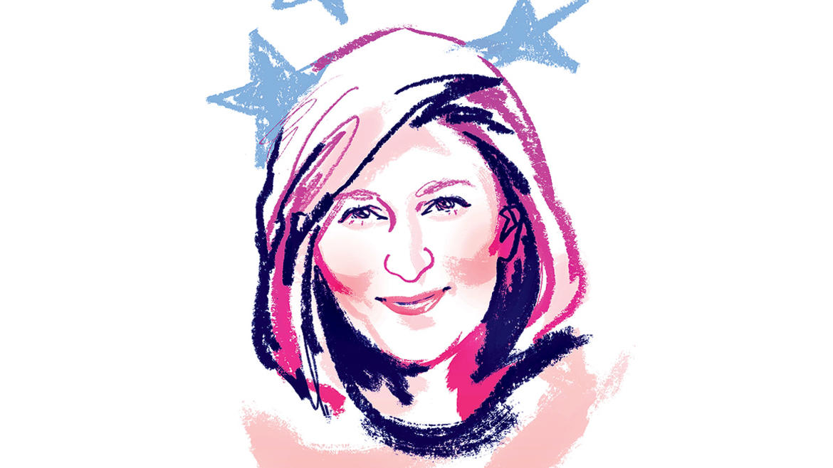 Illustration by Jonny Ruzzo of Erin Geiger Smith, author of Thank You For Voting, for Columbia Magazine fall 2020 issue