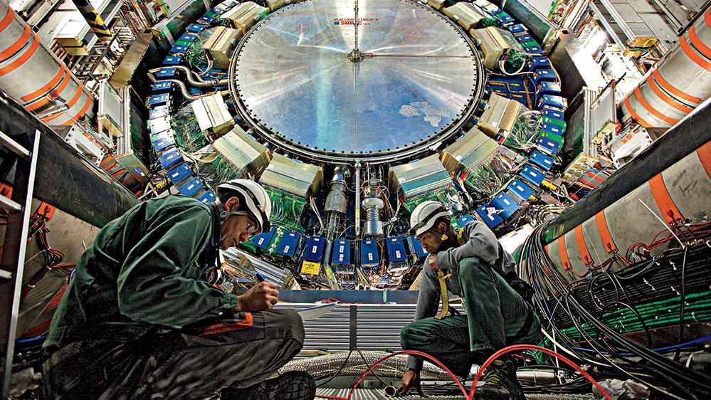 interior of the Large Hadron Collider in Geneva