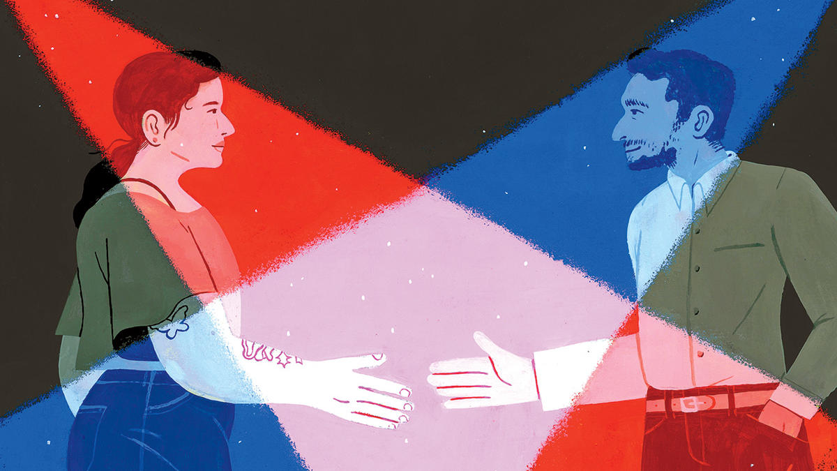 Illustration of a Democrat and Republican shaking hands, by Celia Jacobs, for Columbia Magazine fall 2020 issue (interview with Peter Coleman)