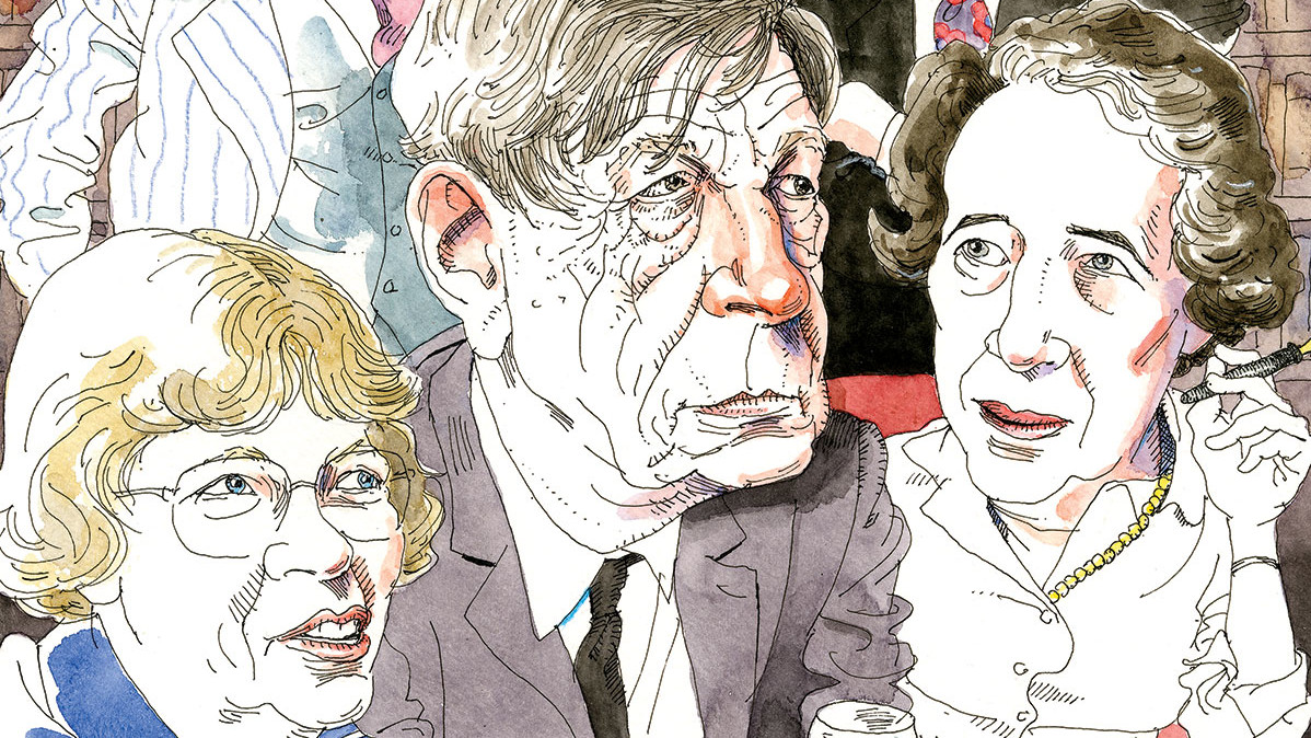 Illustration by Joe Ciardiello of Margaret Mead, W.H. Auden, and Hannah Arendt by Joe Ciardiello for Columbia Magazine, winter 2020-21