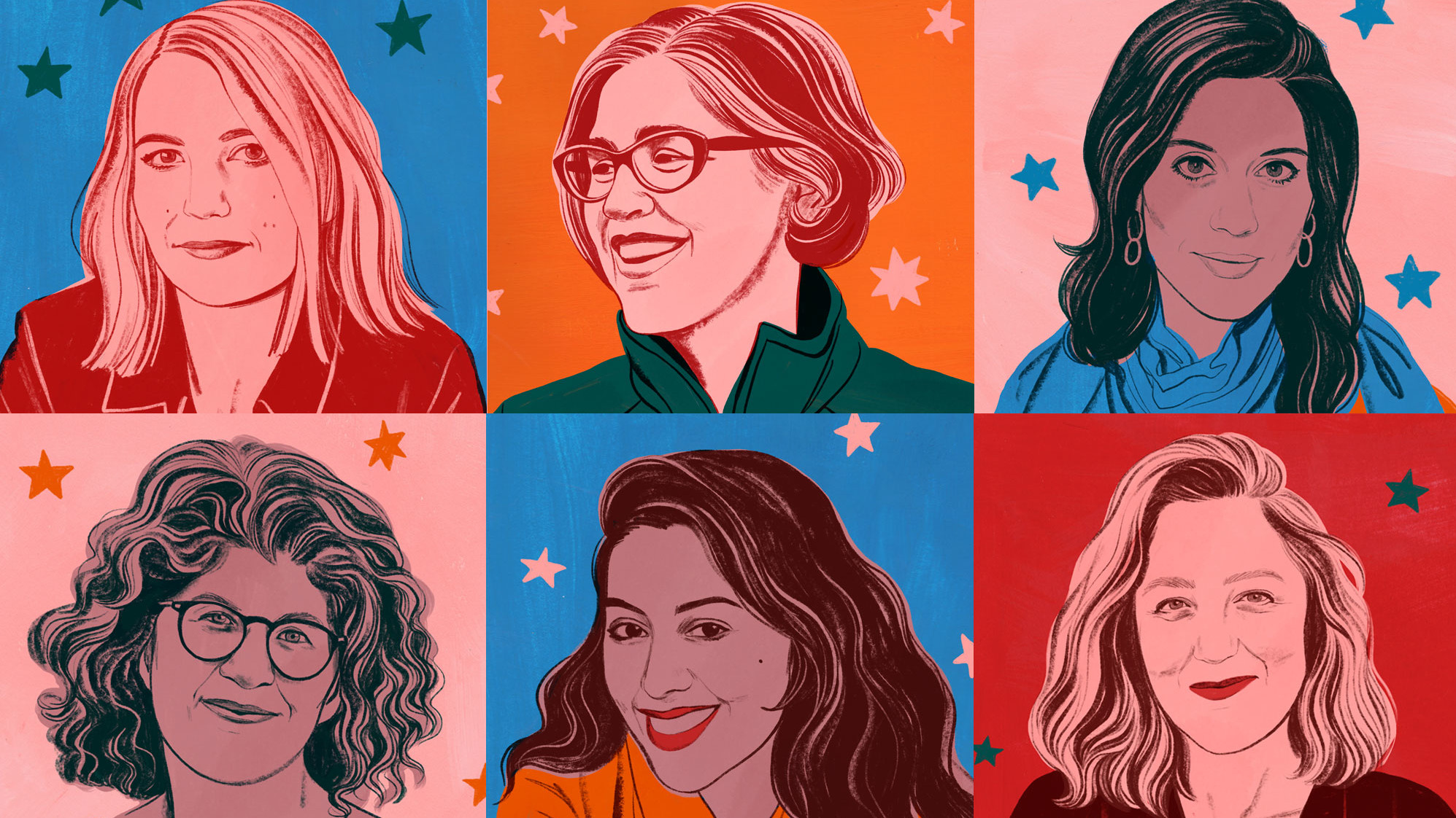 Illustrations by Bijou Karman of filmmakers Amy Talkington, Nicole Kassell, Cherien Dabis, Gina Fattore, Smriti Mundhra, Anna Winger