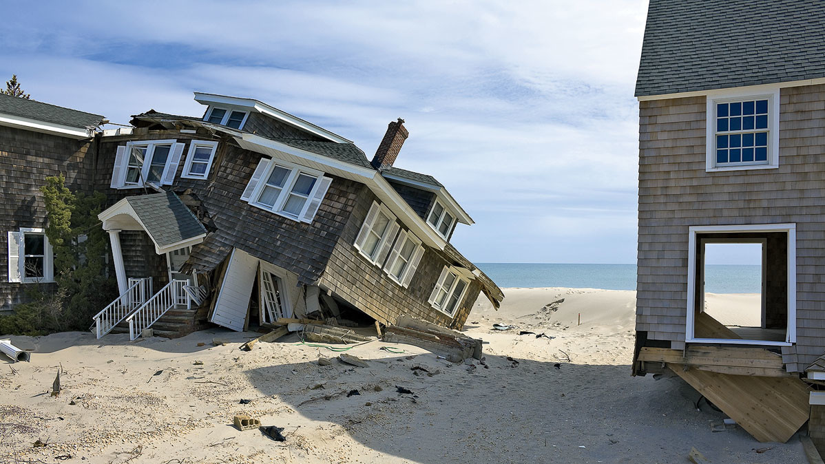 Destroyed beach houses in Mantoloking, New Jersey, after Hurricane Sandy