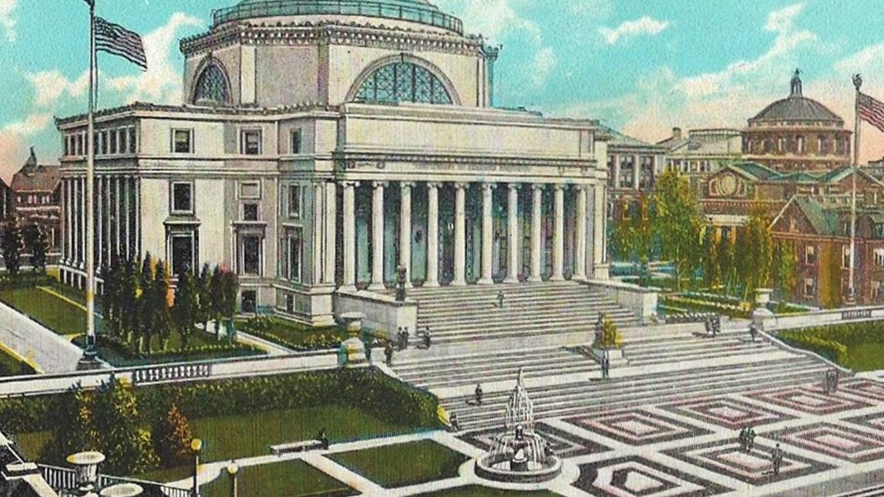 Vintage postcard featuring Columbia University Low Library