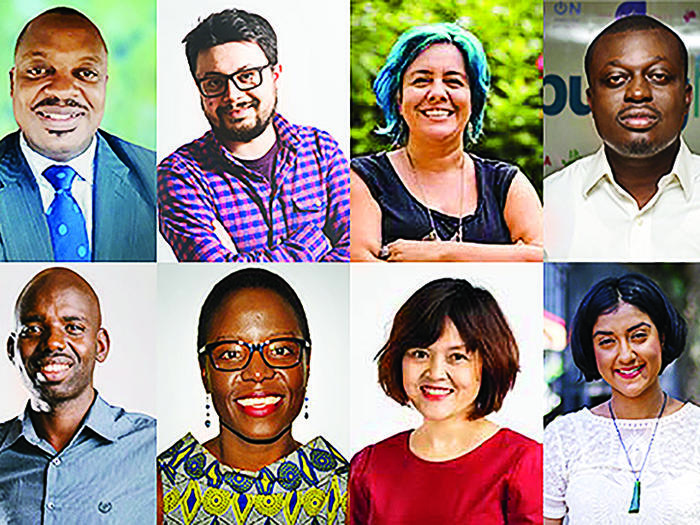 The inaugural Obama Foundation Scholars. Top, from left: Gabriela Galilea, Ndansi Elvis Nukam, Pavel Kounchev, Ana María González Forero, Oluseun Onigbinde, Omezzine Khelifa. Bottom, from left: Alice Barbe, Peter Ndayihereje, Rumbidzai Chisenga, Hong Hoang, Vanessa Paranjothy, Trisha Shetty.