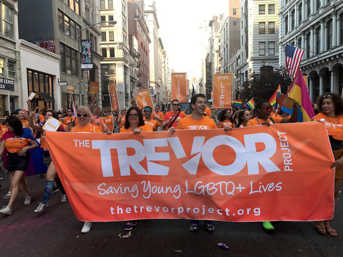 Trevor Project employees at parade