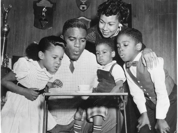 Jackie Robinson and family