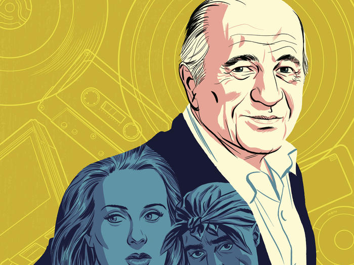 Illustration of Sony executive Doug Morris wearing a blazer with pictures of Adele, Tupac, and other celebrities, by Michael Cho