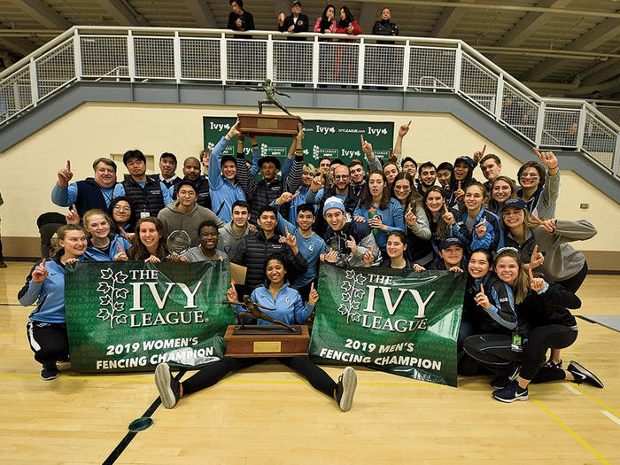 Columbia fencing team with Ivy League Championship trophy
