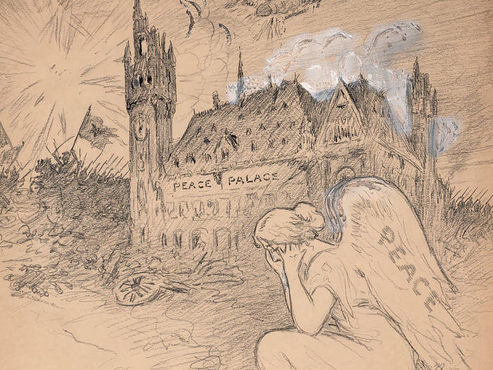 "Drawing: ""The Peace Palace in The Hague,"" by Milton Halladay"