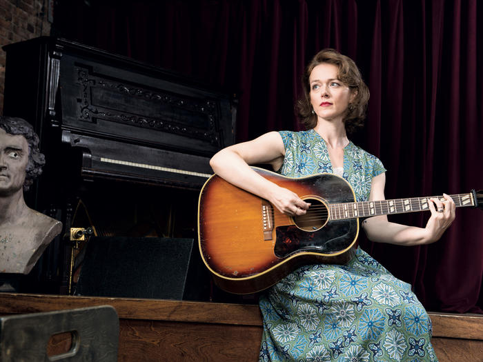 Laura Cantrell with guitar, photographed by Rayon Richards