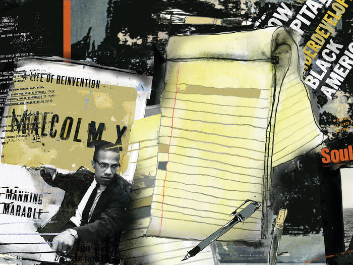 Collage featuring African American texts and Manning Marable's biography of Malcolm X
