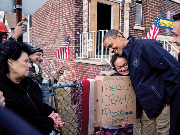 Barack Obama with Hurricane Sandy victims in Staten Island, NY