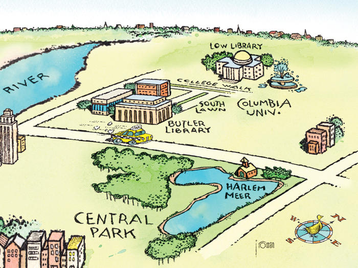 Columbia campus map, illustrated by John Roman