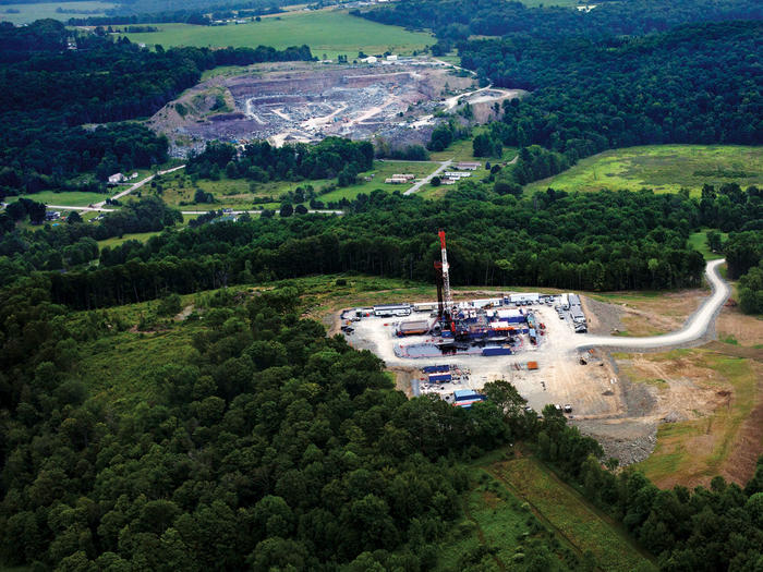 A natural-gas drilling site in northeastern Pennsylvania
