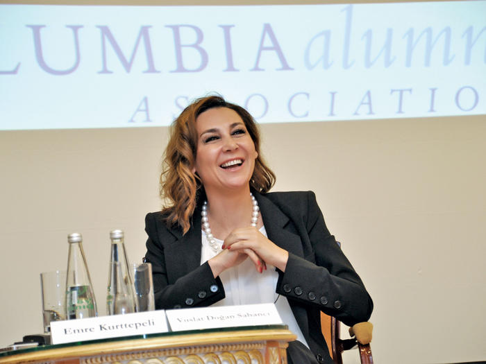 Vuslat Dogan Sabanci speaking at a Columbia Alumni Association Global panel discussion in Istanbul