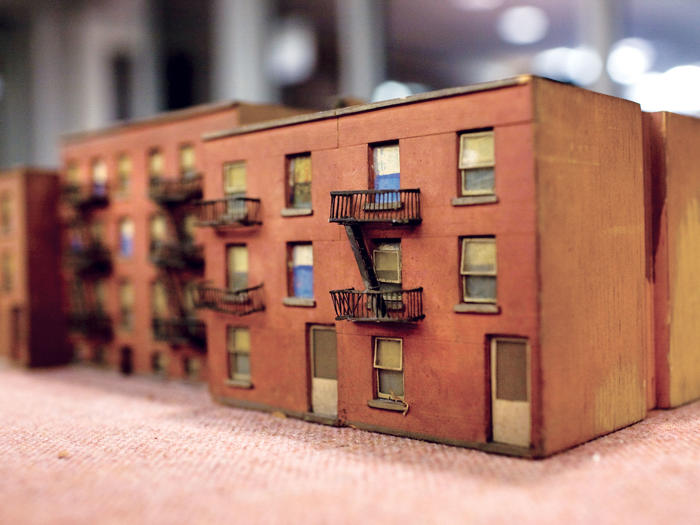 "Miniature model of a Manhattan building from the ""Old York Library"" collection"